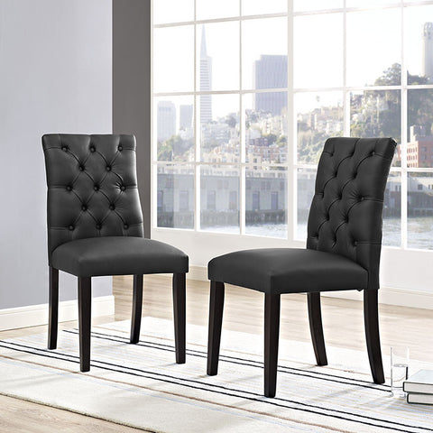 Duchess Vinyl Dining Chair In Black - EEI-2230-BLK (2Piece) Free Shipping - Pearl Igloo - 1