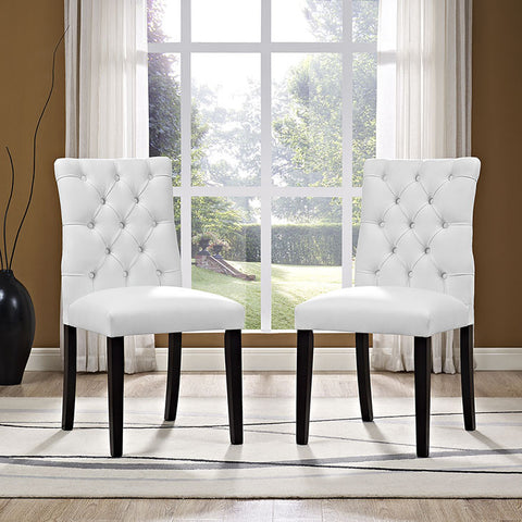 Duchess Vinyl Dining Chair In White - EEI-2230-WHI (2Piece) Free Shipping - Pearl Igloo - 1