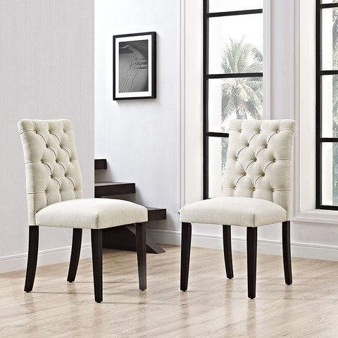 Duchess Fabric Dining Chair In Beige - EEI-2231-BEI (2Piece) Free Shipping - Pearl Igloo - 1