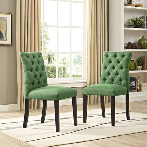 Duchess Fabric Dining Chair In Green - EEI-2231-GRN (2Piece) Free Shipping - Pearl Igloo - 1