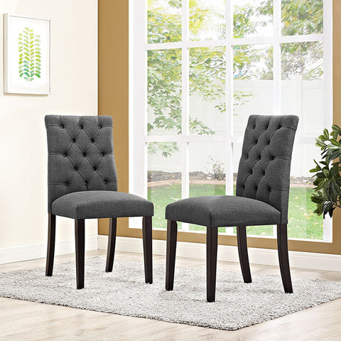 Duchess Fabric Dining Chair In Gray - EEI-2231-GRY (2Piece) Free Shipping - Pearl Igloo - 1