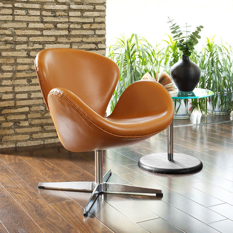 Wing Leather Lounge chair In Terracotta - EEI-527-TER - Pearl Igloo - 1