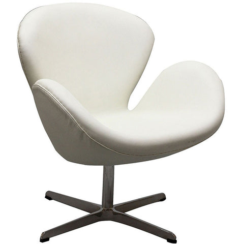 Wing Leather Lounge chair In White - EEI-527-WHI - Pearl Igloo - 1