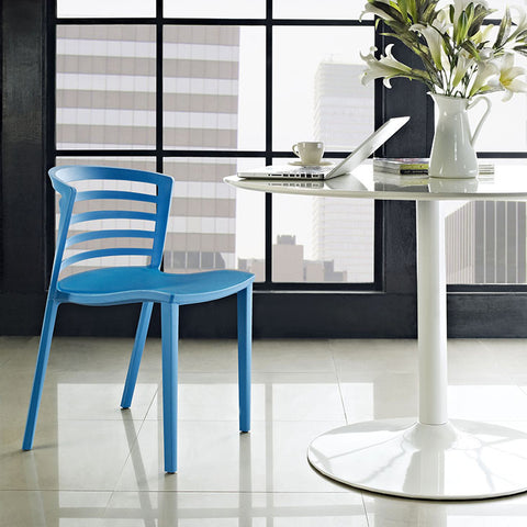 Curvy Dining Side Chair In Blue - EEI-557-BLU (2Piece) Free Shipping - Pearl Igloo - 1