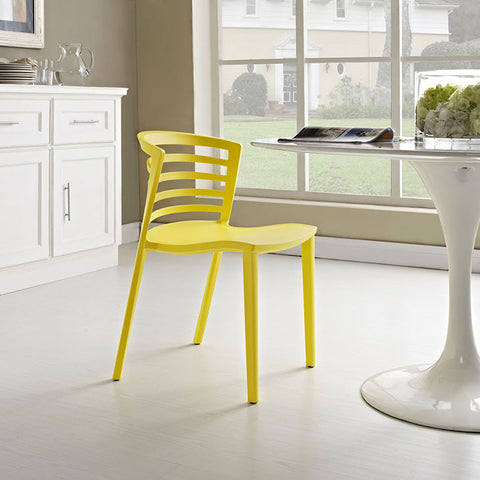 Curvy Dining Side Chair In Yellow - EEI-557-YLW (2Piece) Free Shipping - Pearl Igloo - 1
