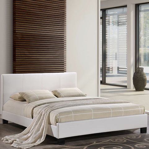 Alex Queen Vinyl Bed In White - MOD-5038-WHI-SET - Pearl Igloo - 1