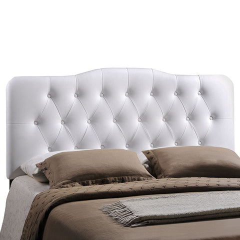 Annabel Queen Vinyl Headboard In White - MOD-5155-WHI Free Shipping - Pearl Igloo - 1