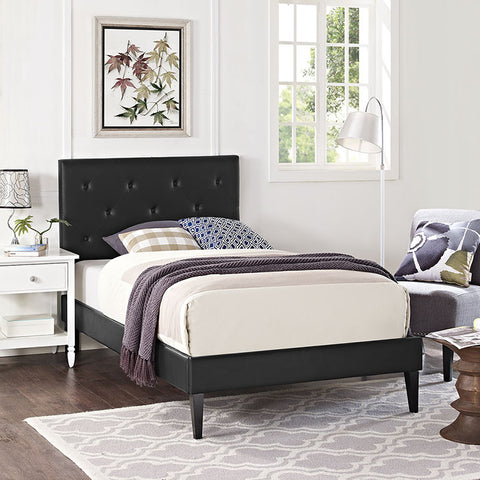 Terisa Twin Vinyl Platform Bed With Squared Tapered Legs In Black - MOD-5583-BLK - Pearl Igloo - 1