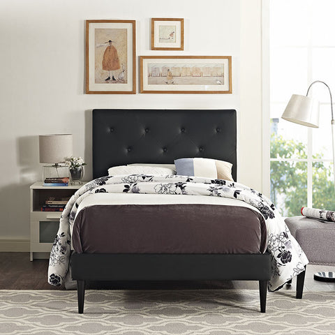 Terisa Twin Vinyl Platform Bed With Round Tapered Legs In Black - MOD-5588-BLK - Pearl Igloo - 1
