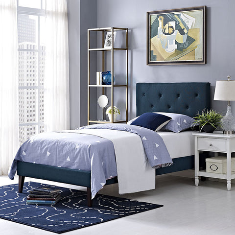 Terisa Twin Fabric Platform Bed With Squared Tapered Legs In Azure - MOD-5593-AZU - Pearl Igloo - 1