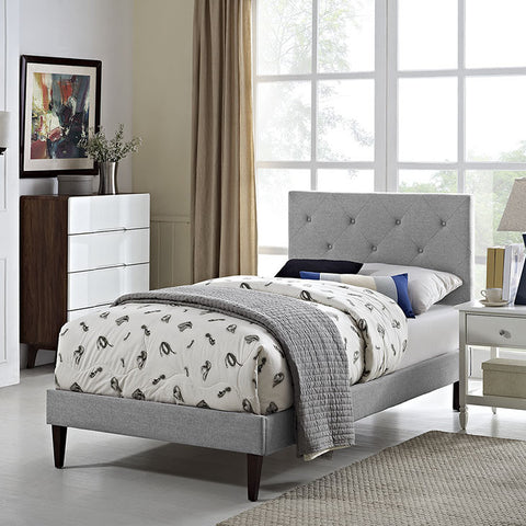 Terisa Twin Fabric Platform Bed With Squared Tapered Legs In Light Gray - MOD-5593-LGR - Pearl Igloo - 1