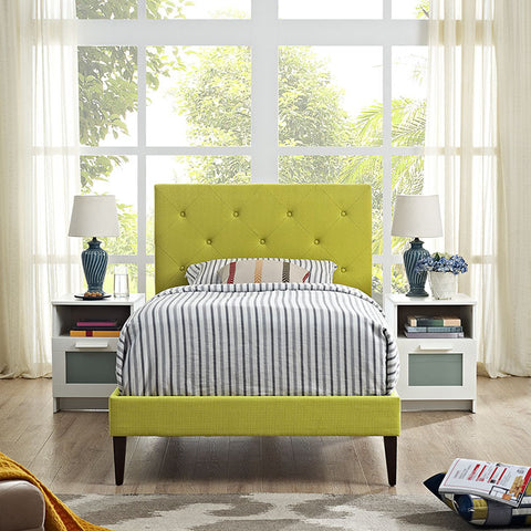 Terisa Twin Fabric Platform Bed With Squared Tapered Legs In Wheatgrass - MOD-5593-WHE - Pearl Igloo - 1