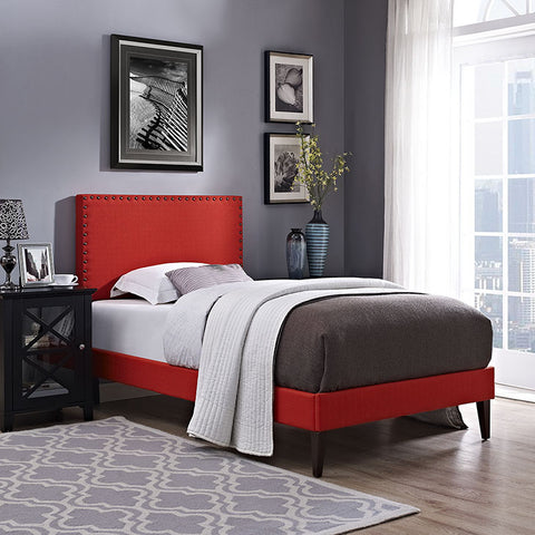 Phoebe Twin Fabric Platform Bed With Squared Tapered Legs In Atomic Red - MOD-5595-ATO - Pearl Igloo - 1