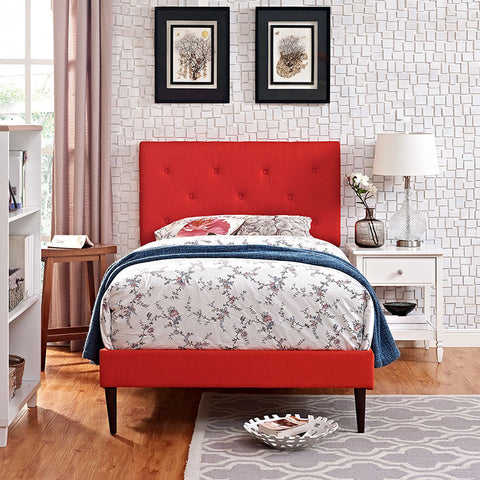 Terisa Twin Fabric Platform Bed With Round Tapered Legs In Atomic Red - MOD-5599-ATO - Pearl Igloo - 1