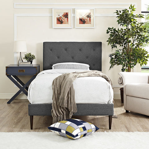 Terisa Twin Fabric Platform Bed With Round Tapered Legs In Gray - MOD-5599-GRY - Pearl Igloo - 1