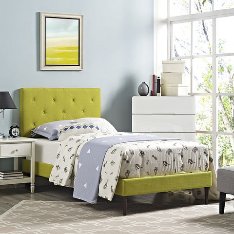 Terisa Twin Fabric Platform Bed With Round Tapered Legs In Wheatgrass - MOD-5599-WHE - Pearl Igloo - 1