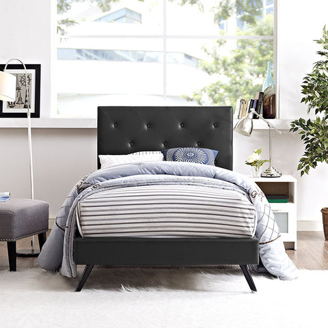 Terisa Twin Vinyl Platform Bed With Round Splayed Legs In Black - MOD-5605-BLK - Pearl Igloo - 1