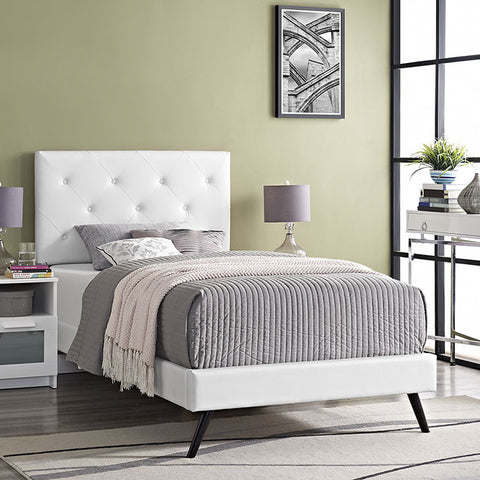 Terisa Twin Vinyl Platform Bed With Round Splayed Legs In White - MOD-5605-WHI - Pearl Igloo - 1