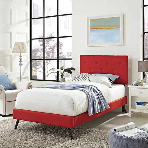 Terisa Twin Fabric Platform Bed With Round Splayed Legs In Atomic Red - MOD-5610-ATO - Pearl Igloo - 1