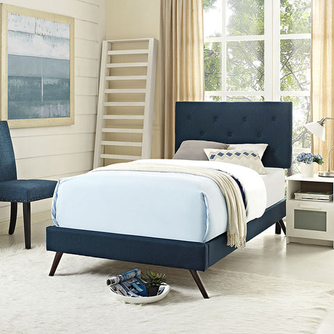 Terisa Twin Fabric Platform Bed With Round Splayed Legs In Azure - MOD-5610-AZU - Pearl Igloo - 1