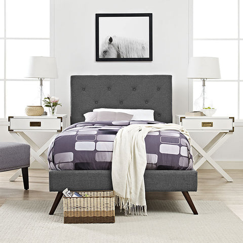 Terisa Twin Fabric Platform Bed With Round Splayed Legs In Gray - MOD-5610-GRY - Pearl Igloo - 1