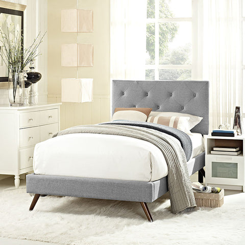 Terisa Twin Fabric Platform Bed With Round Splayed Legs In Light Gray - MOD-5610-LGR - Pearl Igloo - 1
