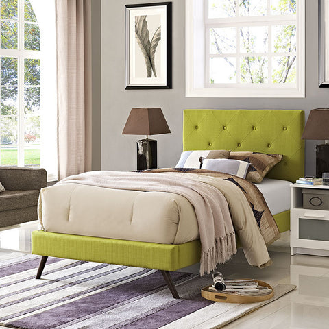 Terisa Twin Fabric Platform Bed With Round Splayed Legs In Wheatgrass - MOD-5610-WHE - Pearl Igloo - 1