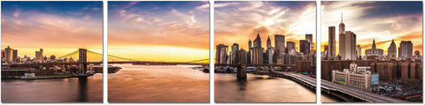 Premium Acrylic Wall Art New York Sunset- SH-72098ABCD SKU18164 - Pearl Igloo