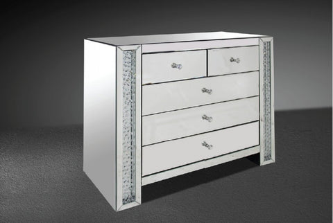 Modrest Glimmer Transitonal Mirrored Dresser with Artificial Crystals VGMCGD1172 - Pearl Igloo
