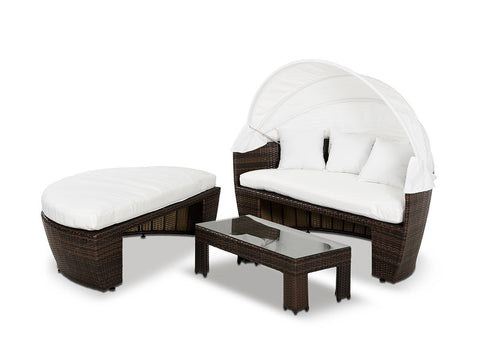 Renava Sunny  Round Patio Day Bed With Retractable Sun Cover VGUBSUNNY - Pearl Igloo - 1