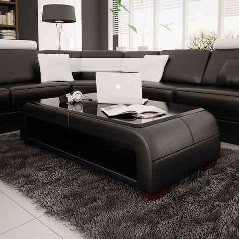 Divani Casa  Modern Black Bonded Leather Coffee Table w/ Glass Top VGEVEV30 - Pearl Igloo - 1
