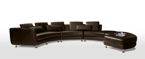 Divani Casa A94 - Contemporary Leather Sectional Sofa & Ottoman VGYIA94-2 - Pearl Igloo