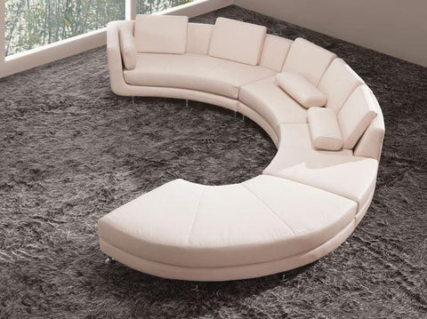 Divani Casa A94 - Contemporary Leather Sectional Sofa & Ottoman VGYIA94-HL - Pearl Igloo