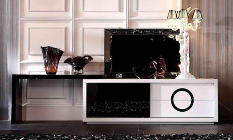A&X Ovidius Modern White and Black Crocodile TV Stand VGUNAA532-180 - Pearl Igloo