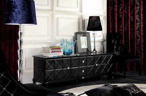 A&X Monte Cristo Black Crocodile Lacquer Entertainment Center VGUNAK538-180 - Pearl Igloo