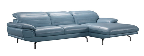 Divani Casa Arcola Modern Blue Leather Sectional Sofa VGZIWA-S135-BLU - Pearl Igloo