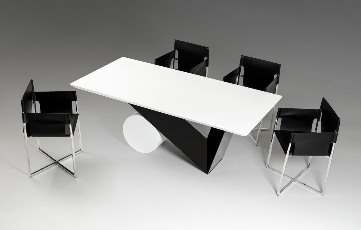 Black and white dining table - Modrest Bauhaus Modern Black And White Dining Table Vgvct8700 Pearl Igloo 3