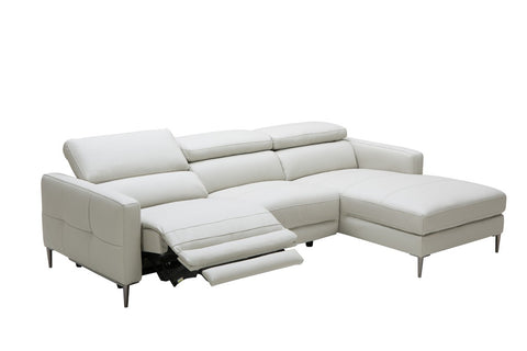 Divani Casa Booth Modern Light Grey Leather Sectional Sofa w/ Recliner VGKK5237-LTGRY - Pearl Igloo