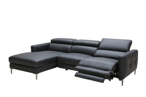 Divani Casa Booth Modern Black Leather Sectional w/ Recliner VGKK5237-BLK - Pearl Igloo
