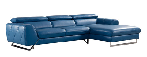 Divani Casa Devon Modern Blue Leather Sectional Sofa VGZIWA-S98-BLU - Pearl Igloo
