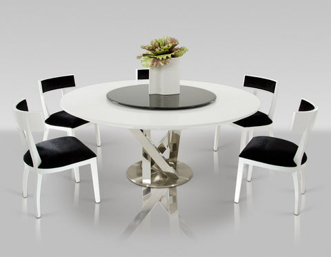 A&X Spiral Modern Round White Dining Table with Lazy Susan VGUNAC833-180-WHT - Pearl Igloo - 1