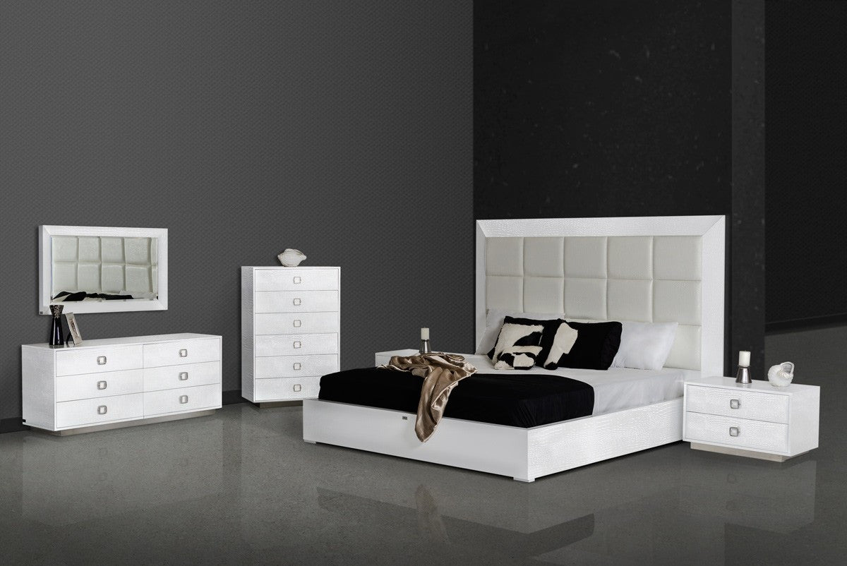 King Bedroom Sets Modern Vig Ax Victoria Modern White Crocodile Cal King Bedroom Set