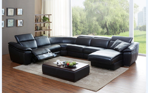 Divani Casa Jasper Modern Black Leather Sectional Sofa - VGKK1728-BLK - Pearl Igloo