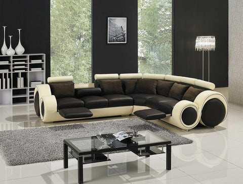 Divani Casa T27C - Sectional Sofa with Recliners VGYIT27C - Pearl Igloo