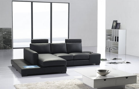 Divani Casa T35 Mini - Modern Leather Sectional Sofa with Light VGYIT35MINI-2 - Pearl Igloo