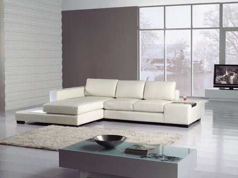 Divani Casa T35 Mini - Leather Sectional Sofa with Light VGYIT35MINI - Pearl Igloo