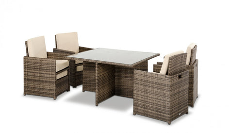 Renava Barcelona - Square Compact Table, 4 Fold-out Chairs, and 4 Individual Ottoman Patio Set VGUBBARCELONA-SQ - Pearl Igloo - 1
