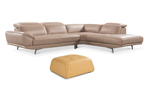 Divani Casa Granger Modern Taupe & Yellow Leather Sectional & Ottoman Set VGZIWA-S151-TPE - Pearl Igloo