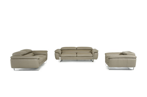 Lusso Highline Italian Modern Grey Leather Sofa Set VGFTHIGHLINE-GRY-TOP - Pearl Igloo
