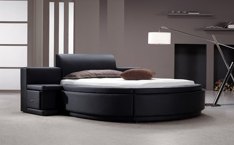 Modrest Owen Black Leatherette Round Queen Bed with Storage VG2TAU01-15 - Pearl Igloo - 1